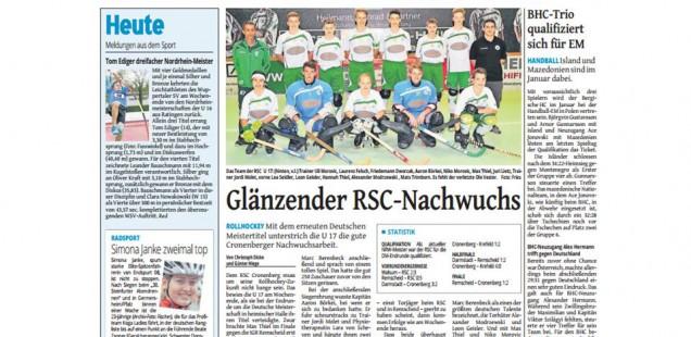 Rollhockey: FBR Schüler Max Thiel glänzt im RSC-Nachwuchs